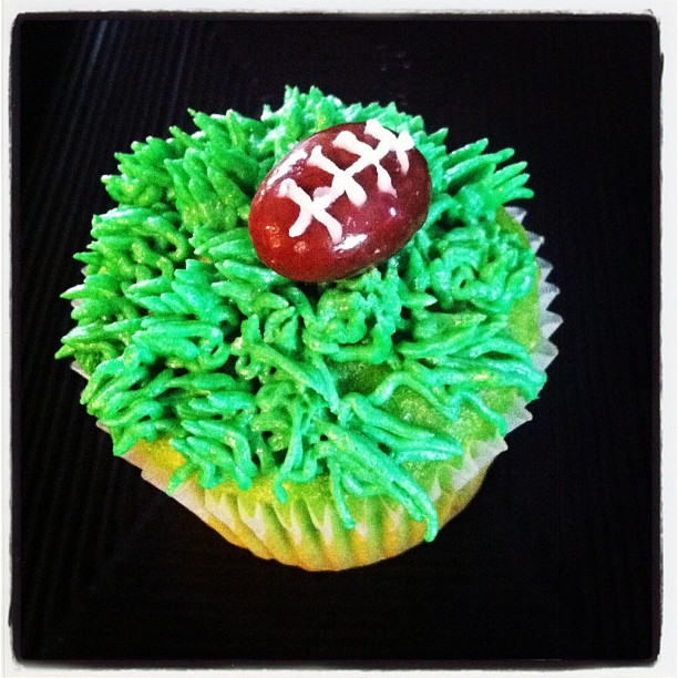 Football cupcake / mint cupcake, chocolate grass buttercream & almond football