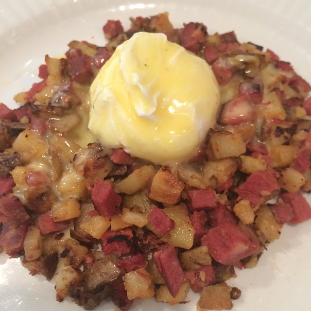 Cindy Robello June 23, 2015 ·  View on Instagram  Jack Daniels glazed horned beef hash with a poached egg topped with Hollandaise