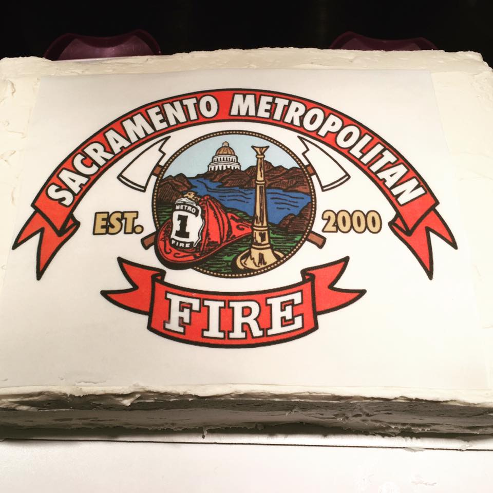 Sac Metro Fire Red Velvet Retirement Cake