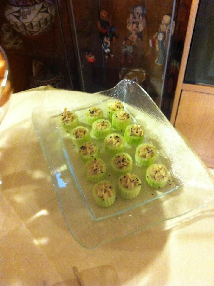 Hummus stuffed cucumber cups