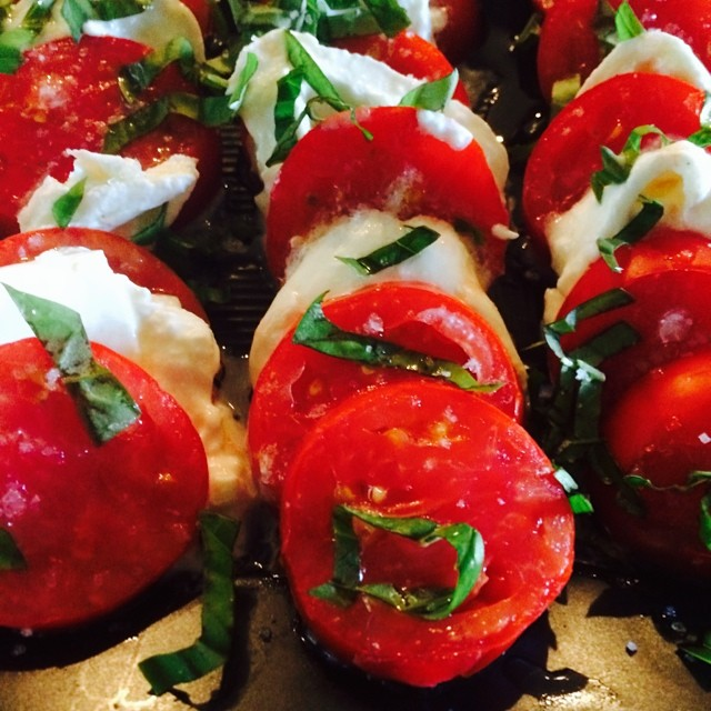 Tomatoes with Burrata cheese, olive oiland finished with Fleur de Sel